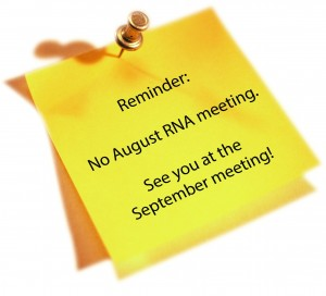 No meeting in August, see you in September